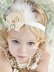 Kid's Cute Pearls Floral Feather Elastic Headband