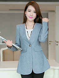 Women's Slim Leisure Large Size One Button Color Block Blue Blazer , Bodycon / Work Peaked Lapel Long Sleeve