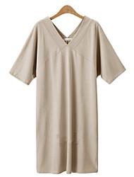 Damen Kleid - Übergrößen Leger Solide Knielang Baumwoll-Mischung V-Ausschnitt