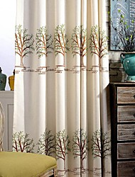 Two Panel Modern Tree Embroidered  Cotton Energy Saving Curtains Drapes