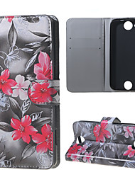 Red Flowers Wallet Leather Stand Case for Acer Liquid Jade Z