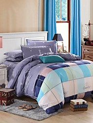 Plaid Duvet Cover Sets 4 Piece Polyester Contemporary Reactive Print Polyester Twin Full Queen King4pcs (1 Duvet Cover, 1 Flat Sheet, 2