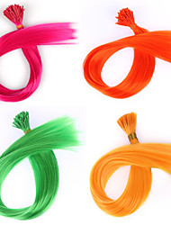 20pcs/lot I Tip Hair Extension 50 Beads A Hook Grizzly Synthetic Hair Ring Synthetic Loop Hair Piece Solid Color