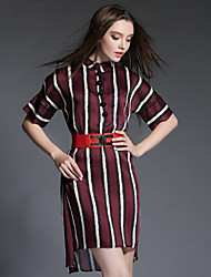 Women's Casual Striped Loose Dress , Stand Asymmetrical Satin