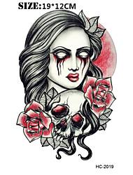 8 Tatouages Autocollants Séries de fleur Séries de totem Autres Non Toxique Motif Halloween Grande Taille Bas du Dos ImperméableHomme