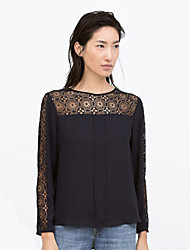 Women's Vintage Lace Splicing Solid Blue Blouse , Round Neck Long Sleeve