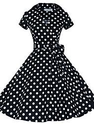 Classic & Traditional Lolita Short Sleeve Medium Length Black Cotton Lolita Dress
