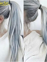 Hot Wholesale Glueless Lace Wig Fashion Virgin Hair Straight Lace Wig Silver Grey Ombre Front Lace Human Hair Wig