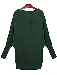 Women's Casual/Daily Simple Fall Blouse,Solid Round Neck Long Sleeve Black / Green Cotton Medium
