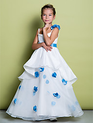 A-line Floor-length Flower Girl Dress - Organza Spaghetti Straps with Flower(s)
