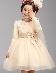 A-line Knee-length Flower Girl Dress - Cotton / Tulle / Polyester Long Sleeve Jewel with