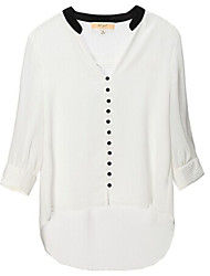 Women's Solid White / Black Blouse , Stand ¾ Sleeve