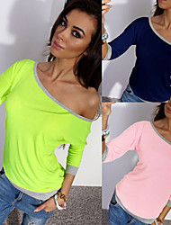 Perfect Women's Solid Color Multi-color T-Shirts , Sexy / Casual / Work One Shoulder ¾ Sleeve