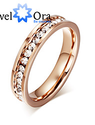 Ring Fashion Party Jewelry Cubic Zirconia / Steel Women Band Rings 1pc,One Size Rose Gold