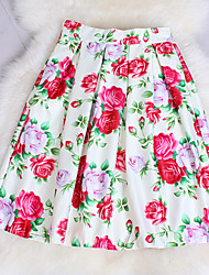 Fashion Women's Pink / Red Rose Print Wild Slim Elastic Waist Retro Luxury Knee-length Skirts