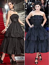 Formal Evening / Military Ball Dress - Black Plus Sizes / Petite A-line Strapless Tea-length Taffeta