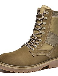 Men's Boots Spring Summer Fall Comfort Cowhide Canvas Outdoor Office & Career Dress Casual Light Brown Black