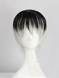 cor da moda dos desenhos animados peruca cinza negra cor misturada dinheiro masculina perucas curtas