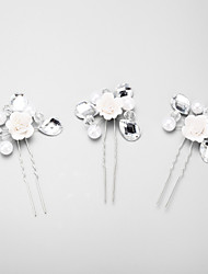 Women's / Flower Girl's Rhinestone / Alloy / Imitation Pearl Headpiece-Wedding / Special Occasion Hair Pin 3 Pieces