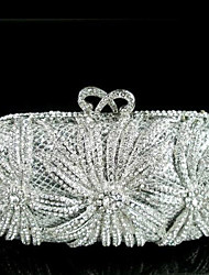 Women's Fashion Flower Design Clutches Evening Silver