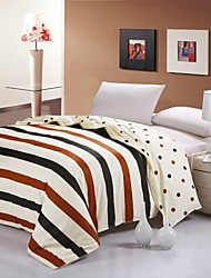 Brown Strip & Dot Heart Cotton Bedding Set Of 4pcs Four Seasons Use