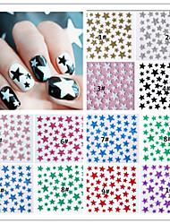 10PCS  Mixed  Color Star  3D Nail Sticker Decals