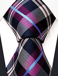 Men's Tie  Checked Fuchsia 100% Silk Business