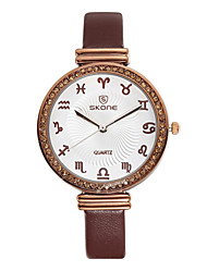 Skone® Women's 12 Constellations Scale Rhinestone Quartz PU Leather Straps Watches Cool Watches Unique Watches