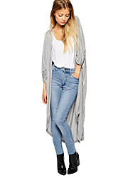 Women Thin Cardigan Long Sleeve Loose Asymmetric Hem Long Maxi Kimono