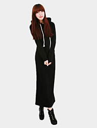 Women's Solid Black / Navy Blue / Gray Dress , Sexy / Casual Hooded Long Sleeve