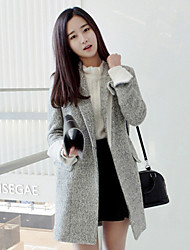 Женский Однотонный Пальто V-образный вырез Осень Серый Длинный рукавСредняя