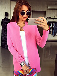 Winter  Women's Solid Color Multi-color Coats & Jackets , Sexy / Casual / Work Round Long Sleeve