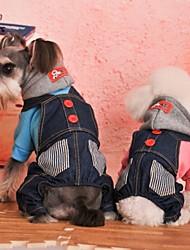 Katzen / Hunde Mäntel / Kapuzenshirts / Hosen / Jeans Rot / Blau Hundekleidung Winter Jeans / Streifen Hochzeit / Cosplay