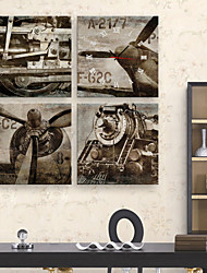 Vintage Aircraft And Train Clock in Canvas 4pcs