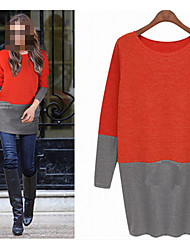 Perfect Women's Color Block Red / White Sweaters , Sexy / Casual / Work Round Long Sleeve