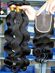 Trame cheveux avec fermeture Cheveux Brésiliens Ondulation naturelle 12 mois 5 Pièces tissages de cheveux