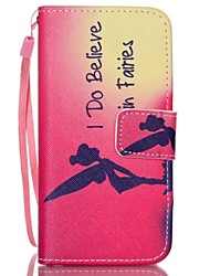 For iPhone 5 Case Wallet / Card Holder / with Stand / Flip / Pattern Case Full Body Case Word / Phrase Hard PU Leather iPhone SE/5s/5