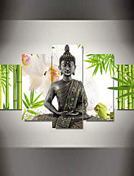 5 Panel Wall Art Buddha Bamboo Flowers Print On Canvas For Wall Decor Wall Pictures Framed art As a gif