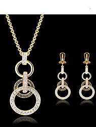May Polly Europe and the United States 18K Gold Plated Necklace Earrings Set