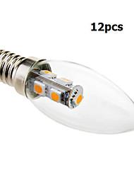 12 Stücke Eastpower Dekorativ LED Kerzen-Glühbirnen C35 E14 1W 70 LM 2800 K 7 SMD 5050 Warmes Weiß AC 220-240 V