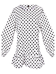 Women's Polka Dot White Tops & Blouses , Casual Round Long Sleeve