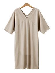 Robe Aux femmes Grandes Tailles Grandes Tailles / Sexy / Décontracté , Couleur Pleine V Profond Mi-long Coton