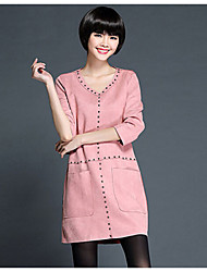 Women's Casual/Daily Plus Size / Cute Plus Size Dress,Solid V Neck Above Knee Long Sleeve Pink / Gray Polyester Fall