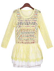 Women's Striped / Lace Yellow Suits , Casual Round Long Sleeve
