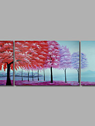 Hand-Painted Oil Painting on Canvas Wall Art Abstract Forest Trees Mountains Three Panel Ready to Hang