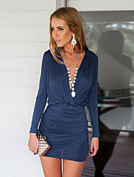 Women's Solid Blue / Gray Dress , Vintage / Sexy / Bodycon / Party Deep V Long Sleeve