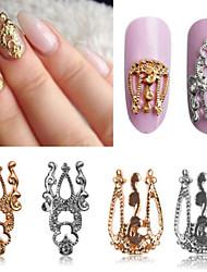 10pcs 3D Hollow Nail Art Alloy Tips Decoration Jewelry Glitter Rhinestone