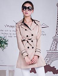 Damen Trench Coat  -  Leger / Arbeit Langarm Polyester