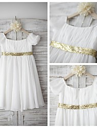Sheath / Column Knee-length Flower Girl Dress - Chiffon / Sequined Short Sleeve Square with