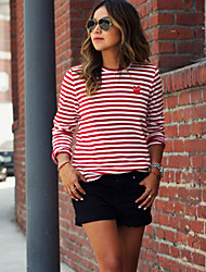 Women's Striped Red Blouse , Round Neck Long Sleeve